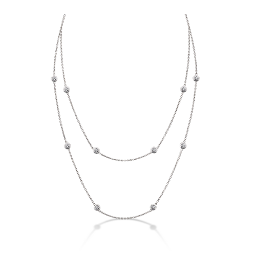 Diamond 30 inch necklace single doubled